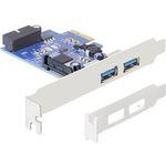 DeLock PCI Express Card > 2 x external USB 3.0 + 1 x internal 19 pin USB 3.0 - USB-Adapter - PCI Express 2.0 x1 Low Profile 89315