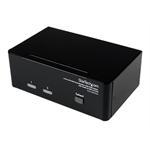 StarTech.com Dual DVI VGA 2 Port Monitor Audio Switch 2-fach KVM Umschalter USB 2.0 1920x1200 - 2 x USB 2.0 4 x DVI-I 4 x Klinke (Buchse)