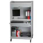 ROLINE PC-Arbeitsplatz - Schrank mit abschließbaren Rolläden - Grau - 17.02.2510