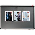 Nobo® Schaukasten Innenbereich 105 x 75 x 5,3 cm (B x H x T) DIN A1 mit Schloss Aluminium silber/dunkelgrau