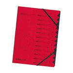 Herlitz Ordnungsmappe DIN A4 355g/m² Colorspankarton rot 12 Fächer