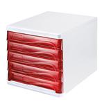 helit Schubladenbox the wave 5 Schubfächer DIN A4, DIN C4 Polypropylen/Polystyrol Gehäusefarbe: weiß Farbe der Schublade: rot transparent
