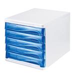 helit Schubladenbox the wave 5 Schubfächer DIN A4, DIN C4 Polypropylen/Polystyrol Gehäusefarbe: weiß Farbe der Schublade: blau transparent