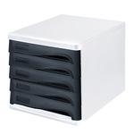 helit Schubladenbox the wave 5 Schubfächer DIN A4, DIN C4 Polypropylen/Polystyrol Gehäusefarbe: weiß Farbe der Schublade: schwarz