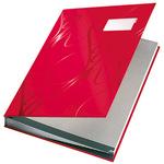 Leitz Unterschriftenmappe Design DIN A4 Graupappe, Polypropylen kaschiert rot grau 18 Fächer