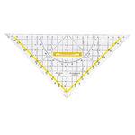 Aristo Geometriedreieck 25cm mit farbig hinterlegten Winkelgraden mit Griff Plexiglas glasklar