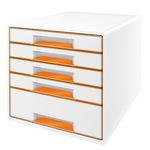 Leitz Schubladenbox WOW CUBE 5 Schubfächer DIN A4 Polystyrol Gehäusefarbe: perlweiß Farbe der Schublade: orange/weiß