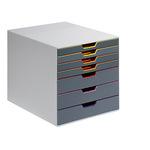 DURABLE Schubladenbox VARICOLOR® 7 7 Schubfächer DIN A4, DIN C4, Folio, Letter ABS Kunststoff Gehäusefarbe: grau Farbe der Schublade: mehrfarbig