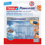 tesa® Haken Powerstrips® transparent XL 27 x 45 mm (B x L) 1kg inkl. 4 Powerstrips® transparent XL transparent 2 St./Pack.