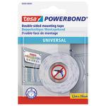 tesa® Montageklebeband Powerbond® Universal Innenbereich 19 mm x 1,5 m (B x L) beidseitig klebend weiß