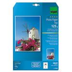 Sigel Fotopapier Top DIN A4 21 x 29,7 cm (B x H) 125g/m² hochweiß hochglänzend 25 Bl./Pack.