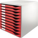 Leitz Schubladenbox 10 Schubfächer DIN A4 Polystyrol Gehäusefarbe: lichtgrau Farbe der Schublade: rot