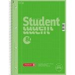 BRUNNEN Collegeblock Student Colour Code DIN A4 kariert mit Rand innen/außen 90g/m² kiwi grün 80 Bl.