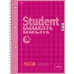 BRUNNEN Collegeblock Student Colour Code DIN A4 kariert mit Rand innen/außen 90g/m² pink 80 Bl.