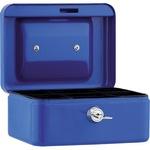 Geldkassette 15,2 x 8 x 11,8 cm (B x H x T) 4 Fächer für Hartgeld mit Schloss Stahl blau