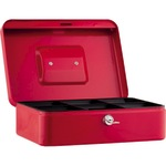 Geldkassette 25 x 9 x 18 cm (B x H x T) 5 Fächer für Hartgeld mit Schloss Stahl rot
