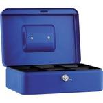 Geldkassette 25 x 9 x 18 cm (B x H x T) 5 Fächer für Hartgeld mit Schloss Stahl blau
