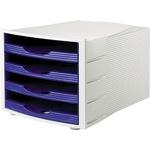 Soennecken Schubladenbox 4 Schubfächer DIN A4 Polystyrol Gehäusefarbe: lichtgrau Farbe der Schublade: blau