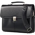 Alassio® Aktentasche FAENZA Außenmaße: 41 x 32,5 x 12 cm (B x H x T) Steckverschluss Leder schwarz