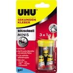 UHU® Sekundenkleber blitzschnell MINIS Gel universell 3 x 1g 3 St./Pack.