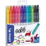 PILOT Fasermaler FriXion Colors 0,39-0,7mm blau, hellblau, gelb, orange, braun, schwarz, pink, baby pink, rot, grün, hellgrün, violett auswaschbar 12 St./Pack.