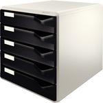 Leitz Schubladenbox 5 Schubfächer DIN A4 Polystyrol Gehäusefarbe: lichtgrau Farbe der Schublade: schwarz