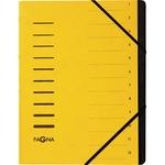 PAGNA Ordnungsmappe DIN A4 280g/m² Pressspankarton gelb 12 Fächer