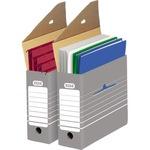 ELBA Archivschachtel tric 9,5 x 26,5 x 34 cm (B x H x T) DIN A4 mit Archivdruck Wellpappe grau/weiß