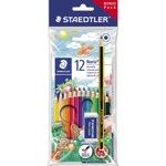 STAEDTLER® Farbstift Noris 144 gelb, rot, blau, lichtblau, bordeauxrot, orange, hautfarben, grün, gelbgrün, rotlila, van-Dyke-braun, schwarz 12 St./Pack.