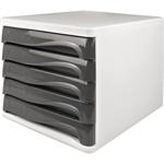 helit Schubladenbox the wave 5 Schubfächer DIN A4, DIN C4 Polypropylen/Polystyrol Gehäusefarbe: weiß Farbe der Schublade: lichtgrau