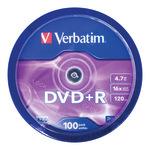 Verbatim DVD+R 4,7GB/120 Min 100er Spindel 43551