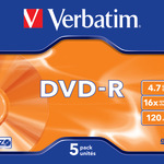 Verbatim DVD-R 4,7GB/120 Min 5er Jewel Case 43519