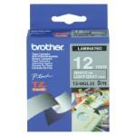 Brother Etikettenband Weiß auf Hellgrau 1,2cm x 5m