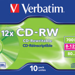 Verbatim CD-RW 700MB/80 Min 10er Jewel Case 43148