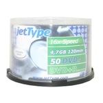 jetType DVD+R 4,7GB/120 Min 50er Spindel bedruckbar Inkjet weiß