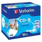 Verbatim CD-R 700MB/80 Min 10er Jewel Case breit bedruckbar Inkjet weiß